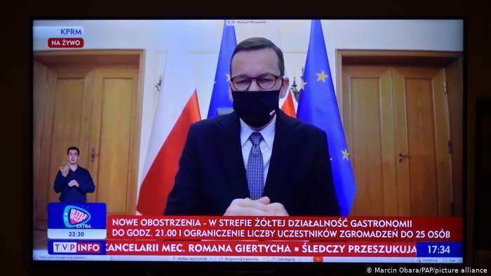 Министър-председателят Матеуш Моравецки редовно говори за пандемията